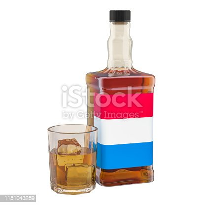 istock Production and consumption of alcohol drinks in Luxembourg, concept. 3D rendering isolated on white background 1151043259
