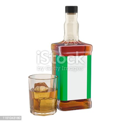 istock Production and consumption of alcohol drinks in Nigeria, concept. 3D rendering isolated on white background 1151043180