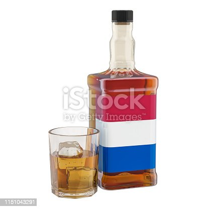istock Production and consumption of alcohol drinks in the Netherlands, concept. 3D rendering isolated on white background 1151043291