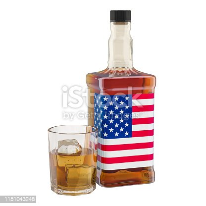 istock Production and consumption of alcohol drinks in the USA, concept. 3D rendering isolated on white background 1151043248