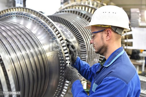 production and design of gas turbines in a modern industrial factory