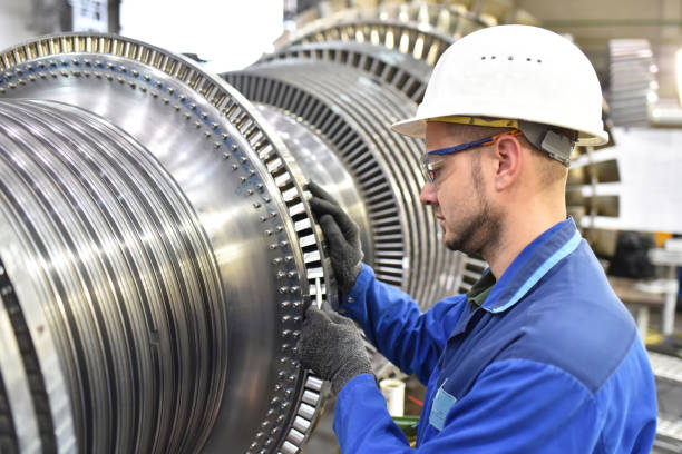 production and design of gas turbines in a modern industrial factory production and design of gas turbines in a modern industrial factory turbine stock pictures, royalty-free photos & images