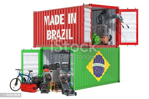 Production and shipping of electronic and appliances from Brazil, 3D rendering isolated on white background