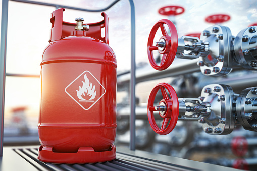 Production, delivery and filling with natural gas of lpg gas bottle or tank. 3d illustration