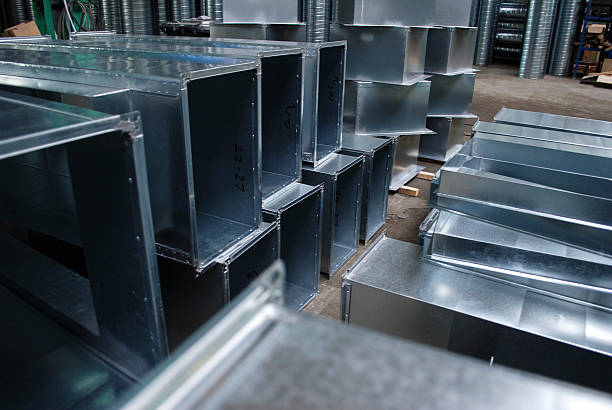 Production hall production of materials ventilation sheet metal stock pictures, royalty-free photos & images