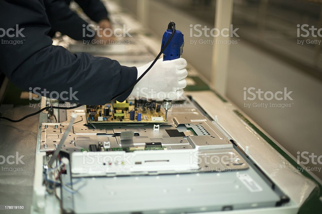 Production line fixing a product stock photo