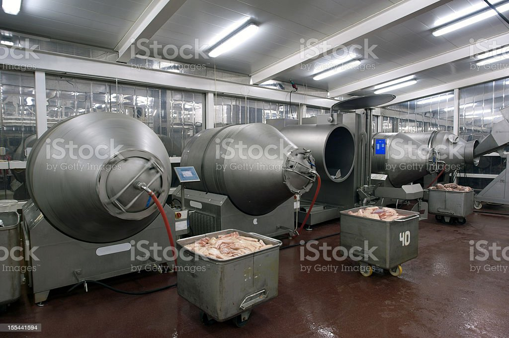 Production line in a food factory. Meat products preparation stock photo