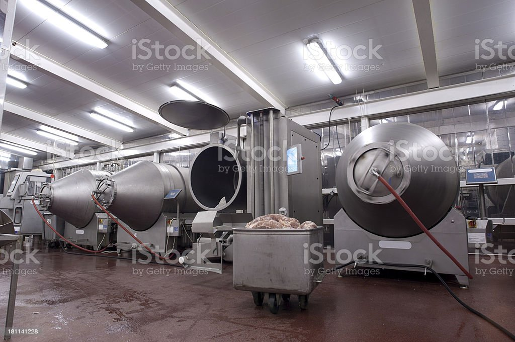 Production line in a food factory where meat is prepared stock photo