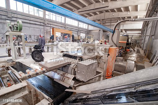 Production Line Inside Of Stone Processing Factory.