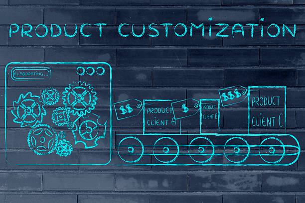 production line with customized items, Product Customization stock photo