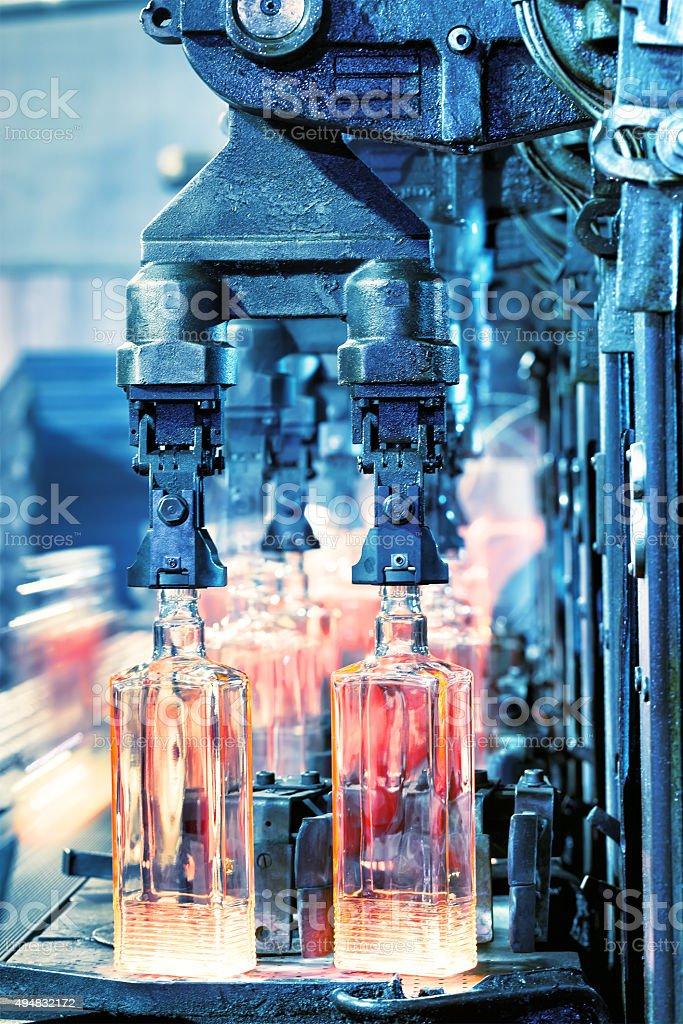 Production of bottles stock photo