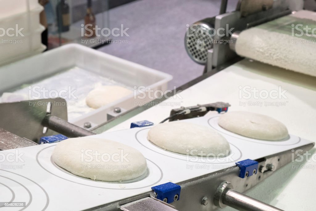 Production of bread Workshop of making bread. stock photo