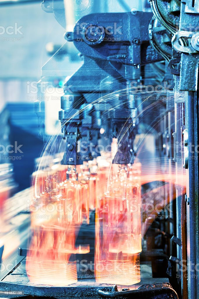 Production of glass bottles stock photo