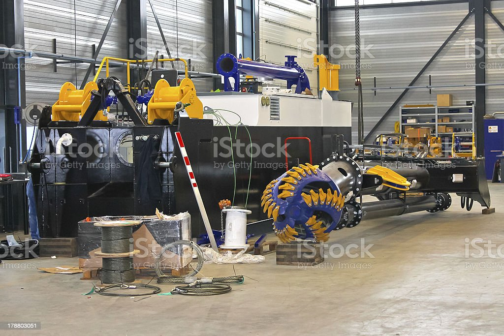 Production of new dredger in a workshop shipyard royalty-free stock photo
