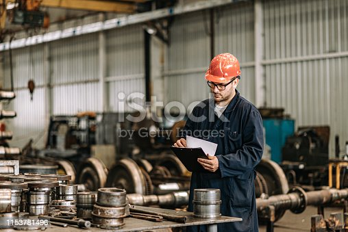 Production of steel train wheels, metal industry concept.