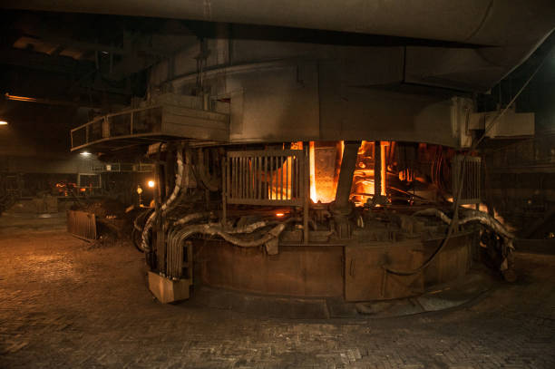 Production process in the steel mill. Arc furnace stock photo