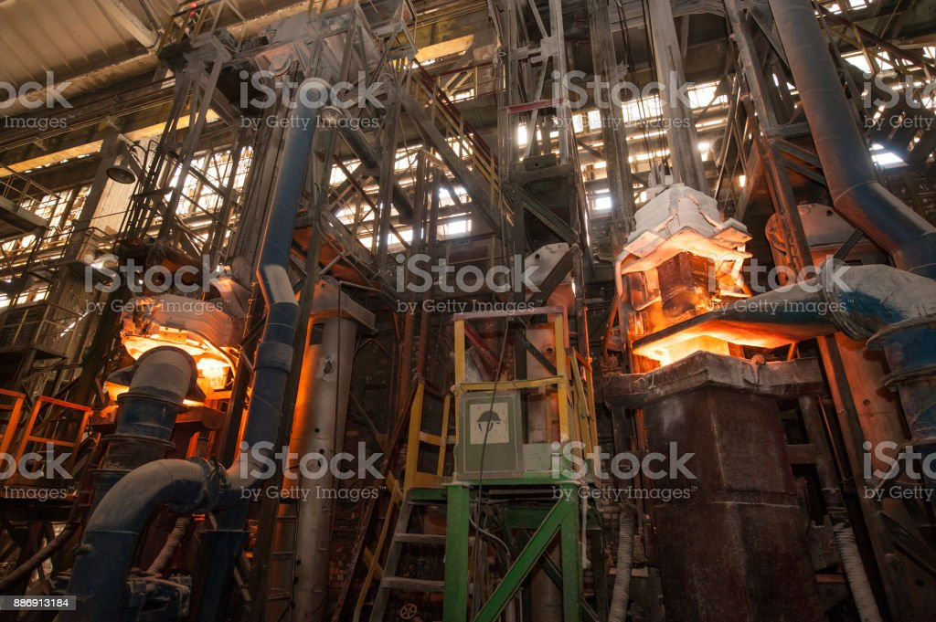 Production process in the steel mill stock photo