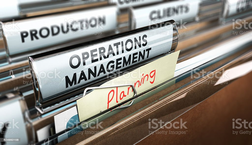 Production Process Organization, Operations Management. stock photo