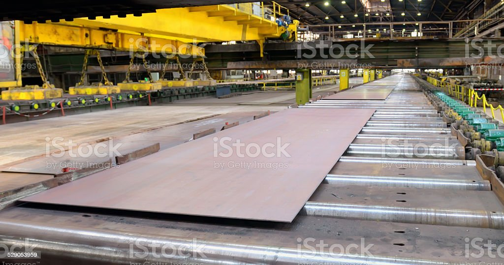 production sheets of steel stock photo
