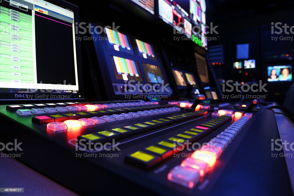 TV Production Switcher in Control Room stock photo