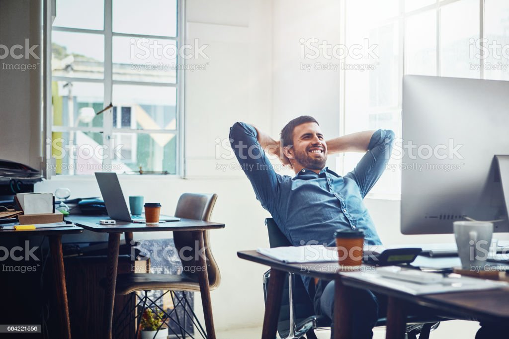 Productive days bring about that rewarding feeling stock photo