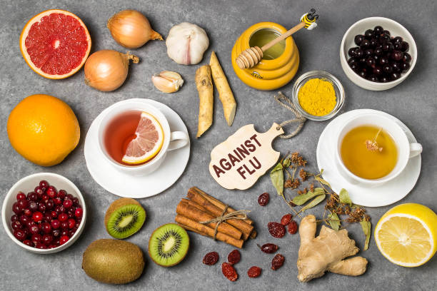 Products against influenza and colds stock photo