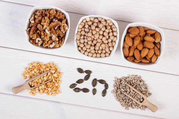 Products and ingredients containing zinc and dietary fiber, healthy nutrition – Foto