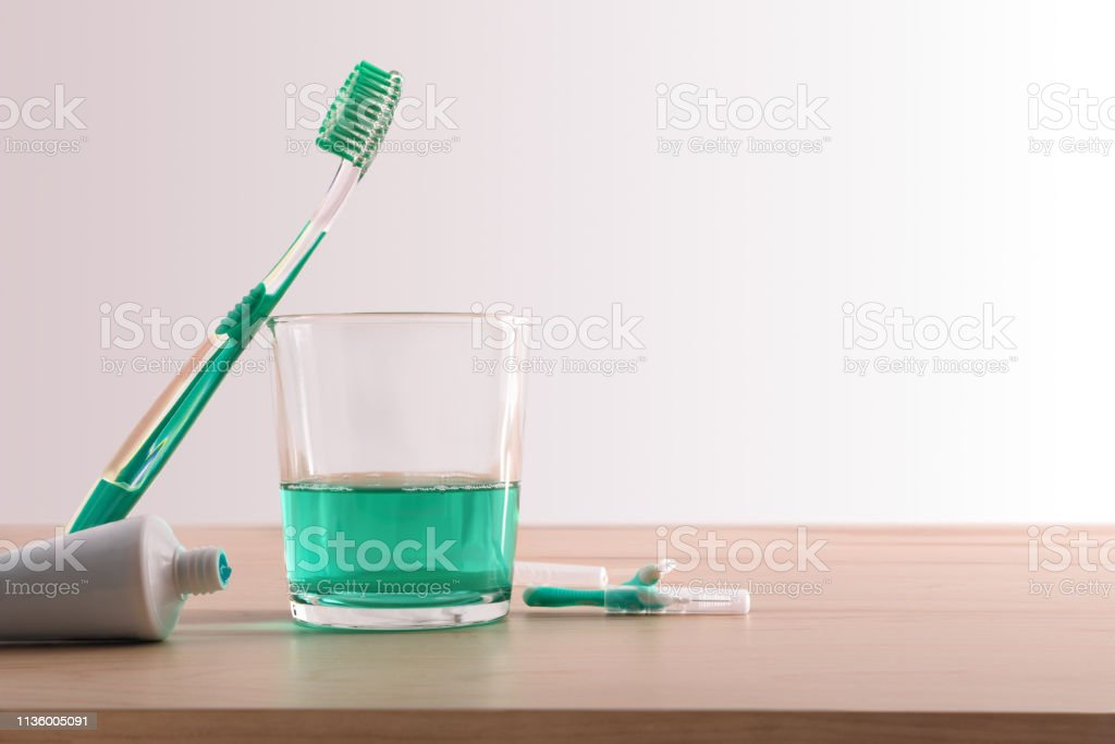 Products and tools for a healthy mouth background stock photo