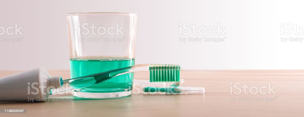 Products and tools for a healthy mouth detail front stock photo