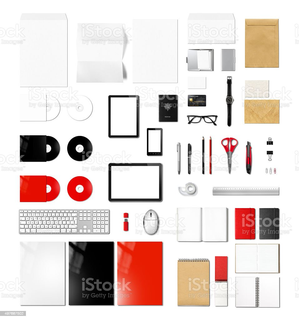Products branding mockup template, white background stock photo
