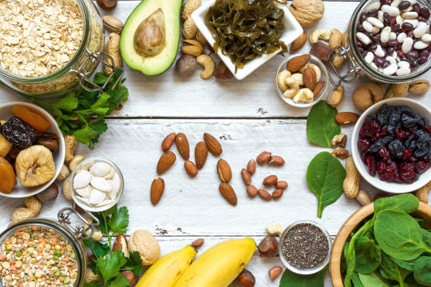 products containing magnesium. healthy food - magnesium stock photos and pictures