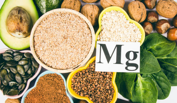 products containing magnesium. healthy food. white background. - magnesium stock photos and pictures
