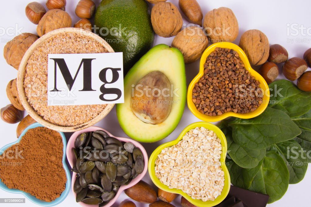 Healthy food nutrition dieting concept. Assortment of high magnesium...