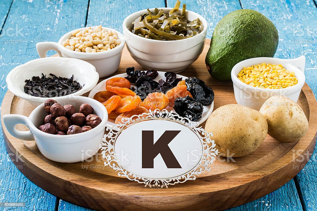 Products containing potassium (K) stock photo