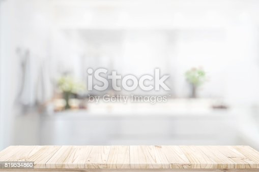 istock Products display concept : wood counter in bathroom background. 819534860