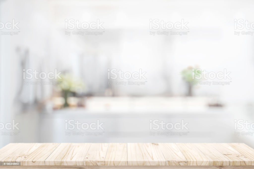 Products display concept : wood counter in bathroom background. stock photo