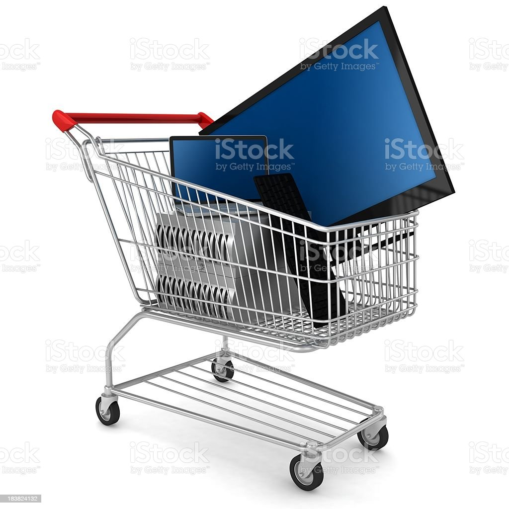 Products in Shopping Cart royalty-free stock photo