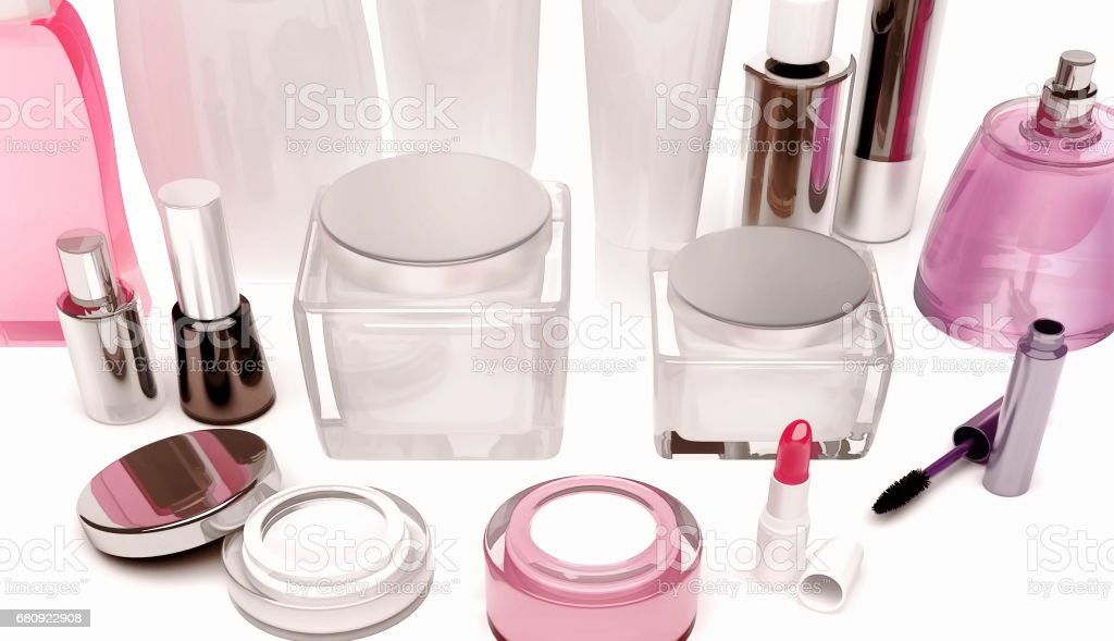 Products of care of skin, hair, decorative cosmetics on white background. royalty-free stock photo