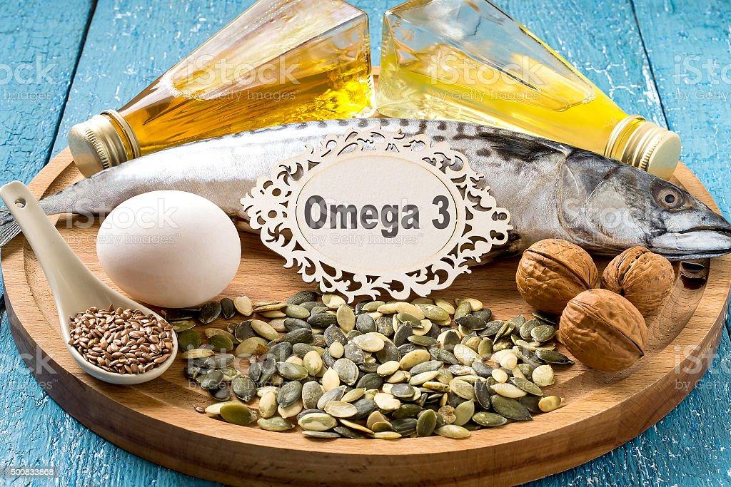 Products - source fatty acids Omega 3 stock photo