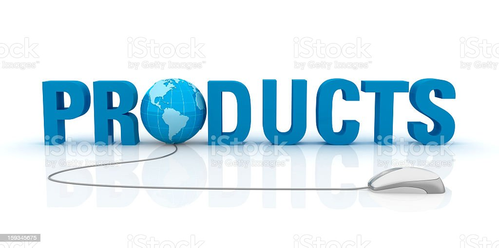 Products Text with Earth Globe and Computer Mouse royalty-free stock photo