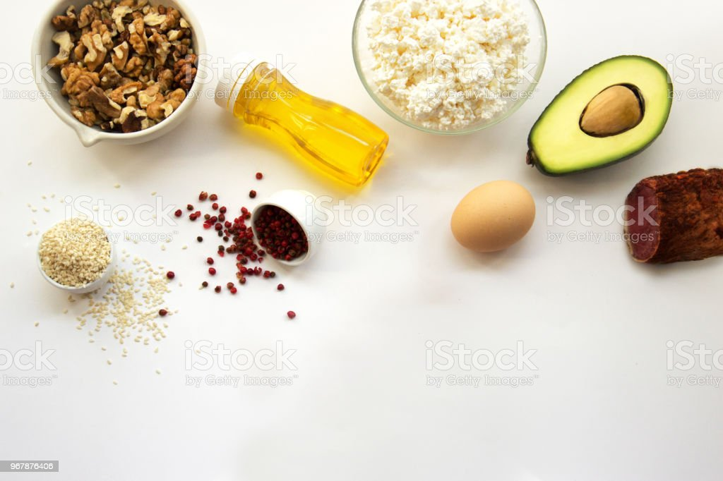 Products that can be eaten with a ketogenic diet., low carb, high good fat. Concept keto diet for health and weight loss. Top view, copy space for text, flat lay royalty-free stock photo