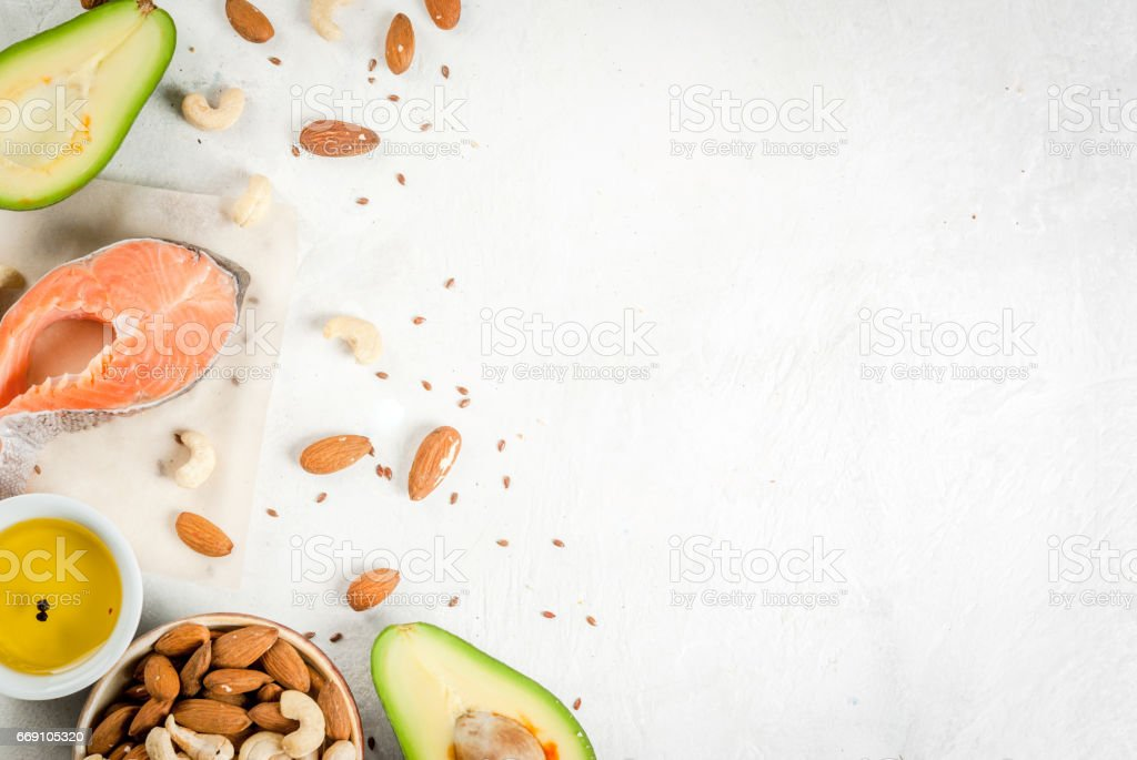 Products with healthy fats stock photo