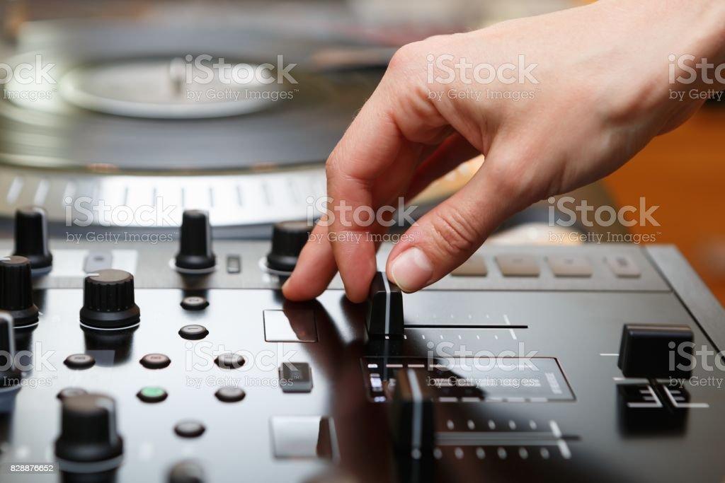 Profesional dj sound mixer stock photo