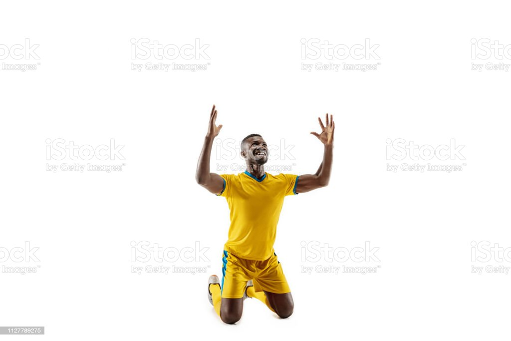 Professional african football soccer player isolated on white background stock photo
