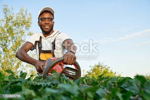 Professional african male gardener in special uniform and glasses taking care about green bushes with hedge trimmer outdoors. Smiling man using modern technologies at work