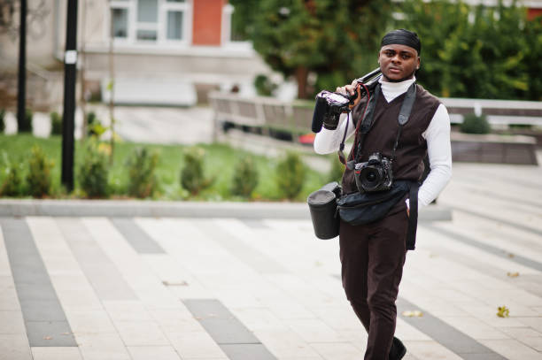Professional african videographer stock photo