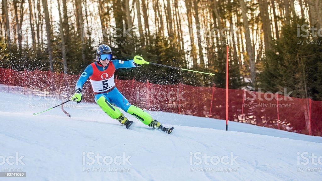 Professional Alpine Skier Carving stock photo