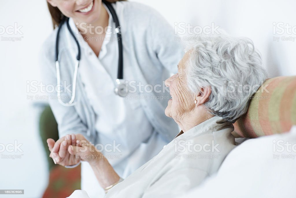 Professional and devoted senior care stock photo