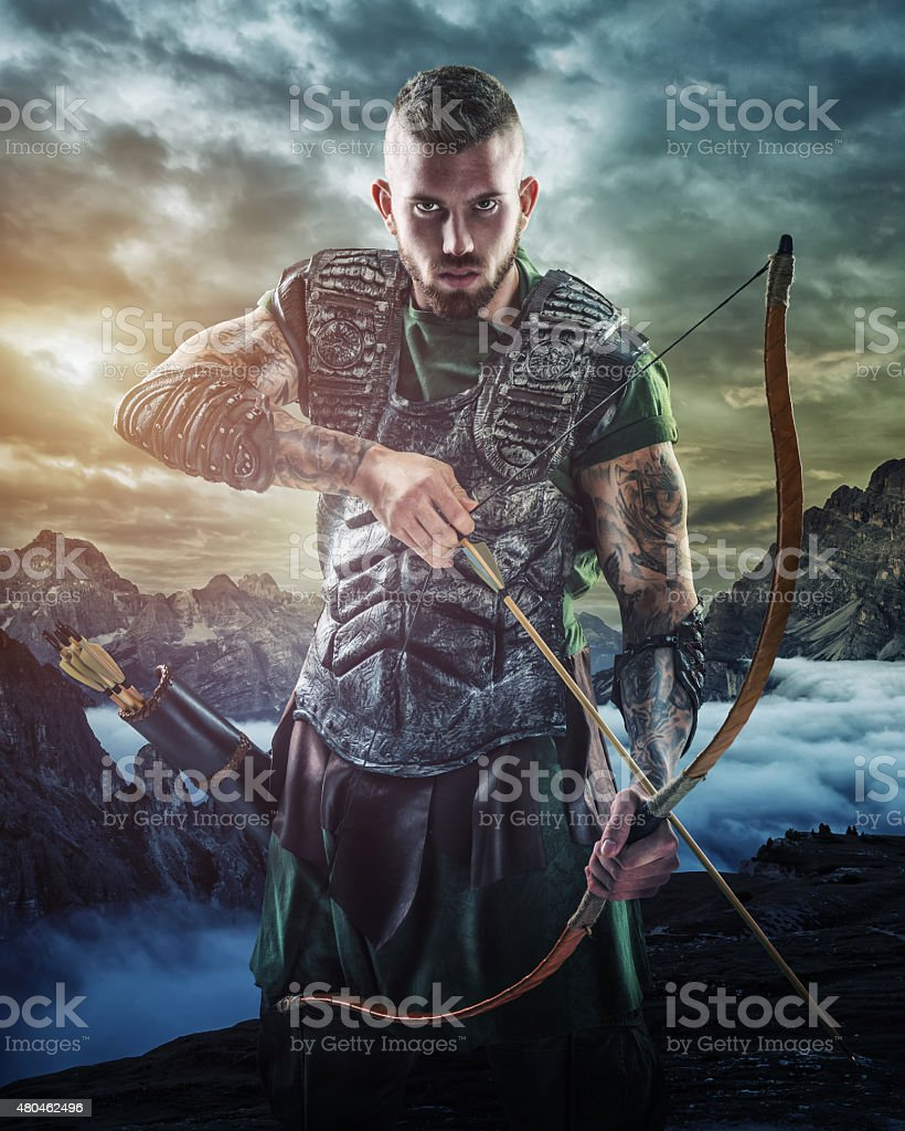 Professional archery target in the mountains, close-up stock photo