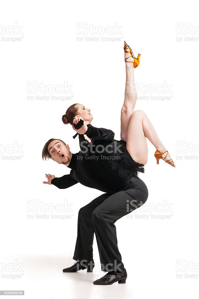 professional artists dancing over white stock photo